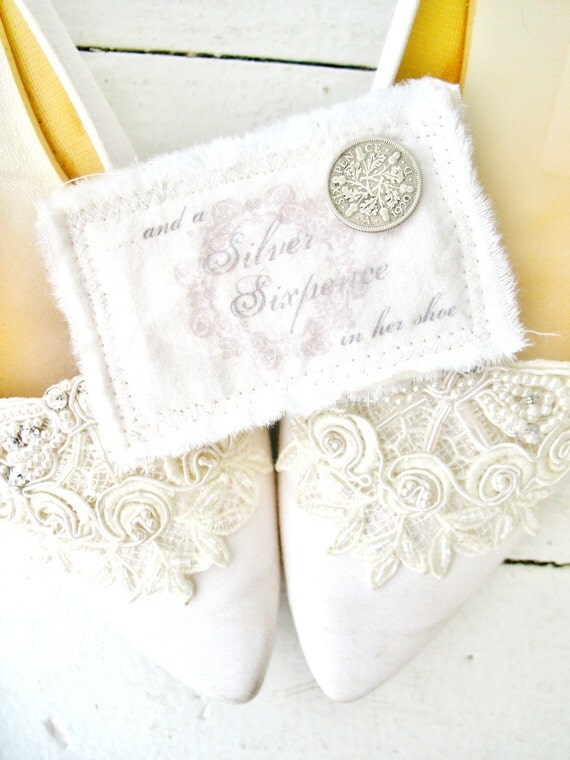 a silver sixpence in her shoe . FLORAL . vintage sixpence coin piece with handmade cotton pouch . for the nostalgic bride