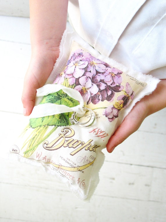 wild violets . purple ring bearer pillow . vintage seed catalog with flowers . for a shabby chic wedding