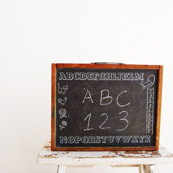 Vintage Chalkboard, Child's Chalkboard Box Carrying Case