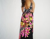 pink black flowers Printed Georgette Backless Jumpsuit