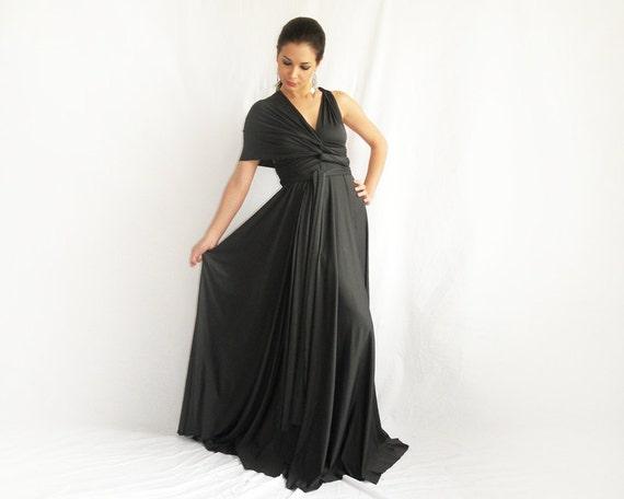 Maxi evening  Convertible Infinity Wrap Chameleon Maxi Dress Grey
