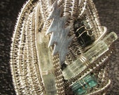 Aquamarine and Paprok Tourmaline wire wrapped pendant with Sterling Silver Grateful Dead 13 point Lightening Bolt
