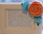 Fabric Flower Embellished Picture Frame-Peach and Turquoise