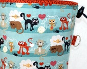 Knitting Project Bag, Basic Grey Max and Whiskers, Drawstring Closure, Square Bottom, Blue Orange Cats Dogs, Supply Clip
