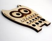 Owl Knitting Needle METRIC Gauge, Laser Cut Wood, Sizes 2mm to 11mm, Ruler