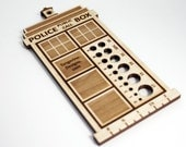 Police Box Knitting Needle Gauge, Laser Cut Wood, Sizes 0 to 17, Ruler