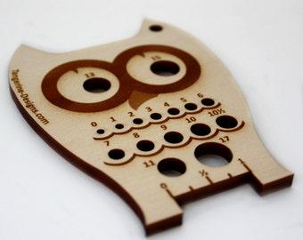 Owl Knitting Needle Gauge, Laser Cut Wood, Sizes 0 to 17, Ruler