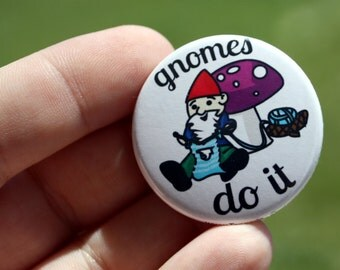 Pin Back Button Knitting Gnome Flair 1.5 inch
