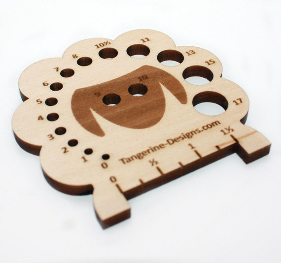Knitting Needle Stitch Gauge : Sheep Knitting Needle Gauge Laser Cut Wood Sizes 0 to 17