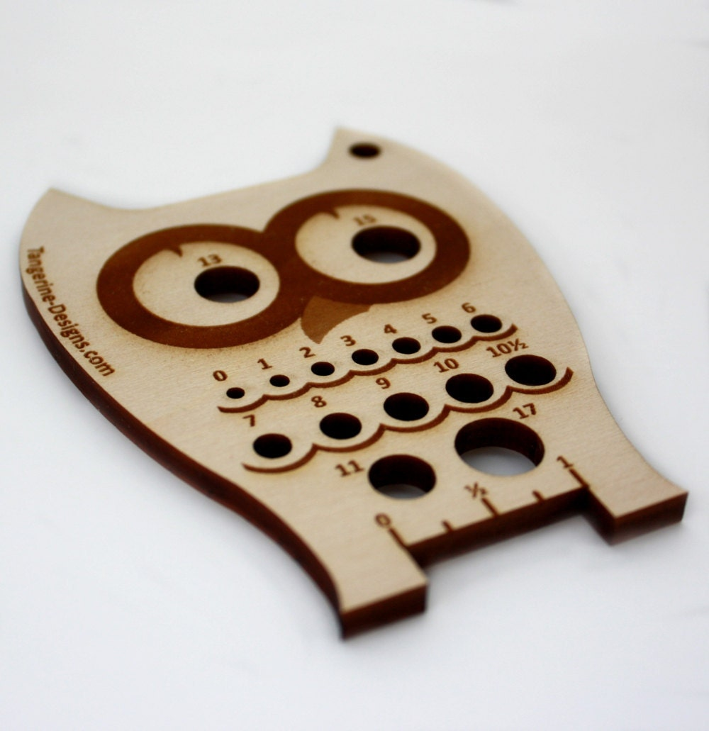 Owl Knitting Needle Gauge Laser Cut Wood Sizes 0 to 17