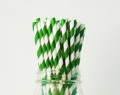 25 Kelly Green Paper Straws, Party Striped Straws