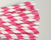 25 Hot Pink Paper Straws, Party Striped Straws