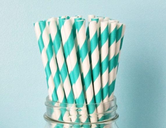 25 Aqua Blue Paper Straws, Party Striped Straws