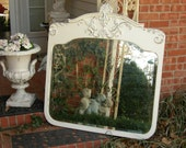 Shabby Chic Stunning Old French White BEVELED MIRROR wall or mantle
