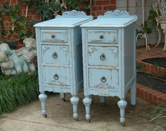 ANTIQUE NIGHTSTANDS - Painted Any Color - Re-purposed Wood Antique Furniture - Bedside Tables - End Tables