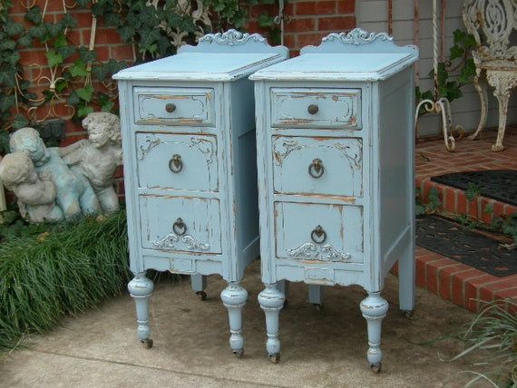 CUSTOM NIGHTSTANDS Order Pair of Shabby Chic  Bedside Tables - Hand Painted Antique Distressed Restored Reclaimed Bedroom Furniture