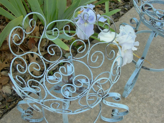 2 Shabby Chic French Blue Iron Plant Stands With Flower Basket tops 1960's Vintage
