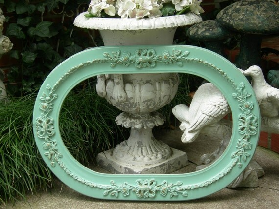 "Old Shabby Chic Aqua Picture Frame Roses Scrolls 12"" X 20"""