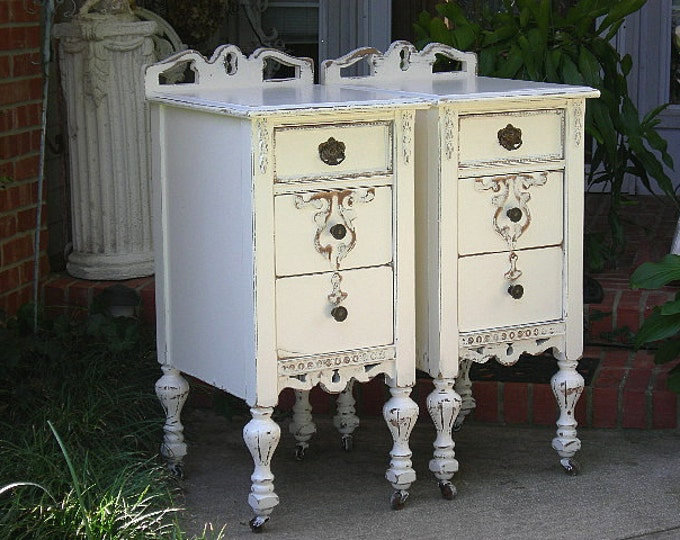 Pair NIGHTSTANDS - Order Custom! Repurposed from Antique Shabby Chic Furniture Painted Distressed