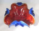 "Chalet or Murano 8"" Triple Cased Glass Ruby & Blue Bowl w/ Aventurine Mid Century Italian Art Glass"
