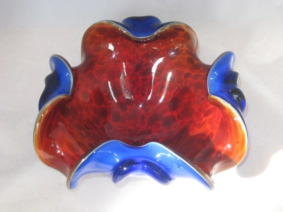 "Chalet or Murano 8"" Triple Cased Glass Ruby & Blue Bowl w/ Aventurine Mid Century Italian Art Glass"