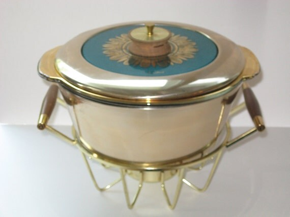 Georges Briard Gold & Teal Embassy 4 Pc Casserole Chafing Dish Warming Stand Retro