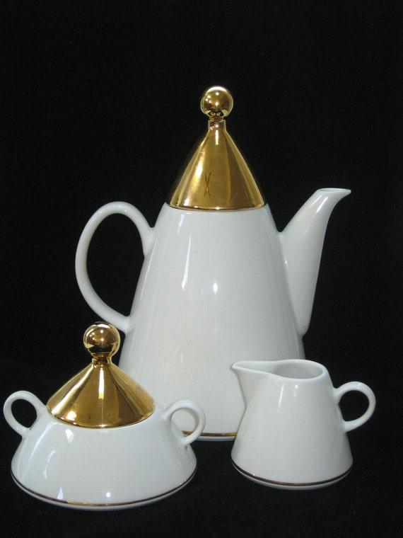 Arabia Finland HARLEKIN Gold Coffee Pot Cream & Sugar Set Memphis Sottsass era