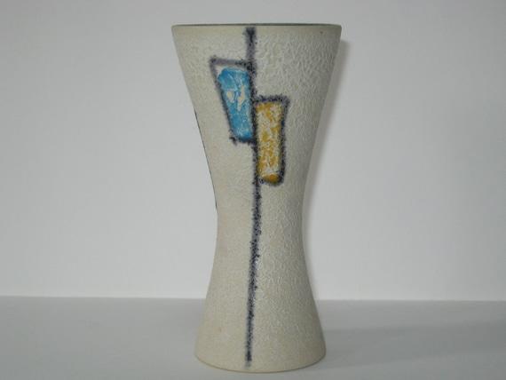 Atomic Age W. German JASBA Mid Century Modern Fat Lava Abstract Hourglass Vase