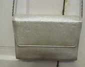 Glitzy Silver Metallic Purse, Clutch