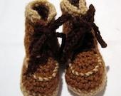 Crochet Little Brown Work Boot Baby Booties