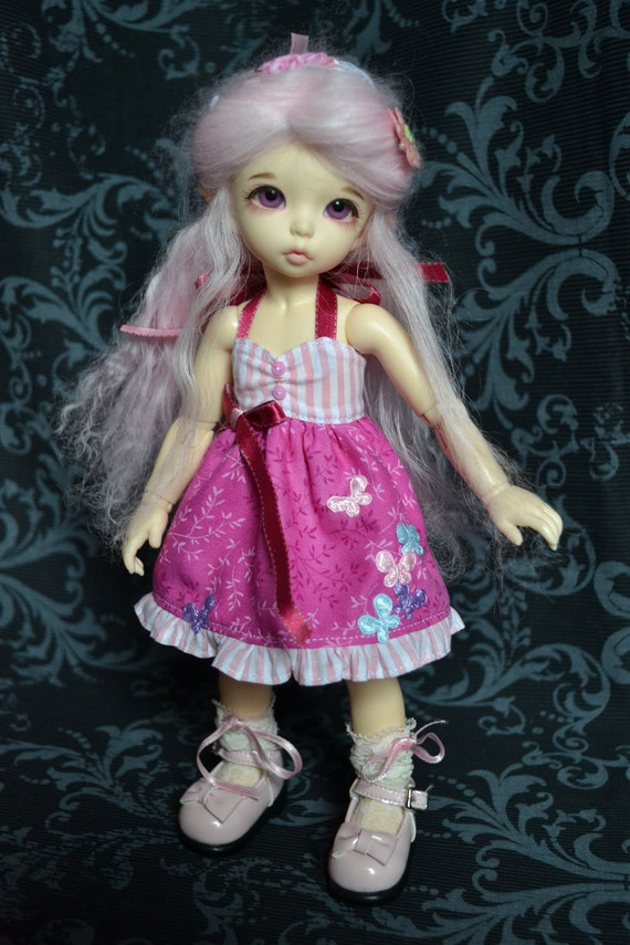 Pink Butterfly Dress for BJD Littlefee and YoSd