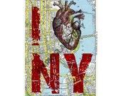 I heart NY - I Love NY Upcycled New York City Map Page Vintage heart Steampunk