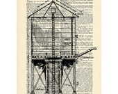 Water tower Dictionary art vintage diagram skyline on Upcycled Vintage Dictionary Paper - 7.75x11 under 10