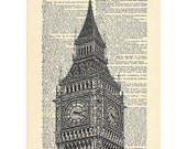 Big Ben London Dictionary art Palace of Westminster vintage building architecture on Upcycled Vintage Dictionary Paper - 7.75x11