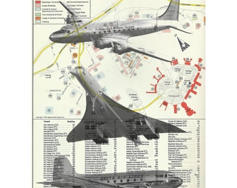 "JFK Airport Map with Airplanes Concorde Flying Sky  Mid Century- John F. Kennedy Airport 8x10"" Print"