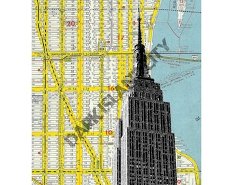 New York City Manhattan Home Decor - Empire State Building - NYC Map Background - 8 x 10 Print