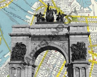 Brooklyn Grand Army Plaza Statue, landmark, history, civil war, lincoln - Brooklyn Map Background - 8 x 10 Print