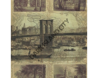 Brooklyn Bridge Green-Wood Cemetery Map Transfer Print Mixed media urban decor