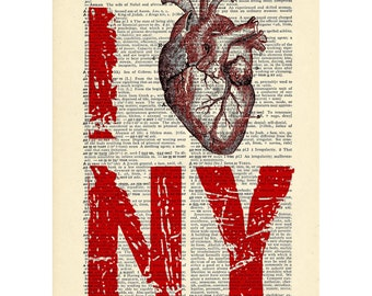 I Heart NY Love NY Dictionary art vintage new york art organ anatomy anatomical red on Upcycled Vintage Dictionary Paper - 7.75x11 under 20