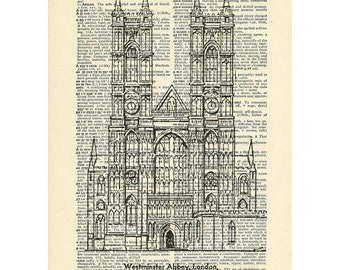 Westminster Abbey London UK Dictionary Gothic Church architecture buildings Printed on Upcycled Vintage Dictionary Paper - 7.75x11
