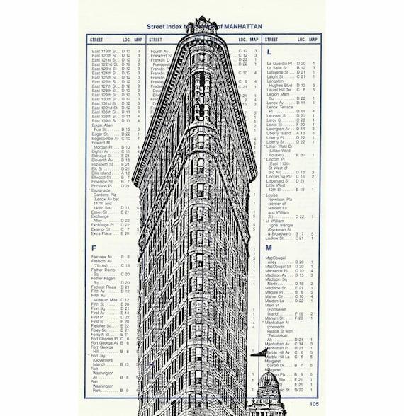 Flatiron Building landmark skyskraper skyline on Upcycled New York City Atlas Page Vintage Page NYC Art