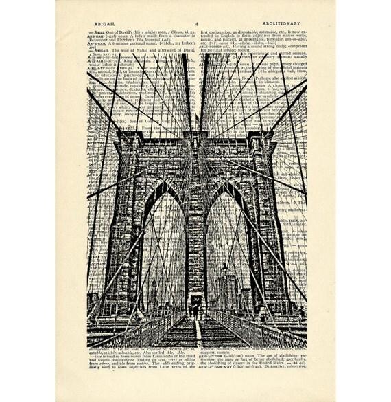 Brooklyn Bridge Dictionary art vintage nyc new york art on Upcycled Vintage Dictionary Paper - 7.75x11