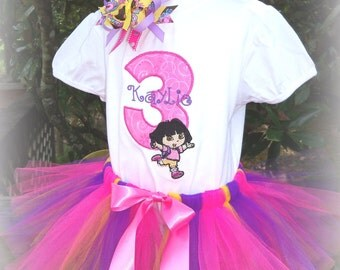 Dora the Explorer Birthday Outfit includes shirt, Tutu and Bow to match