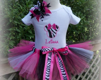 Minnie Mouse Birthday Outfit-Zebra pattern- outfit includes shirt, tutu, and hairbow