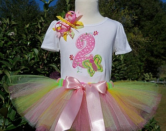 Butterfly Birthday-Big 2 with a happy butterfly and flowers-Shirt, Hairbow, and Tutu-PERSONALIZED