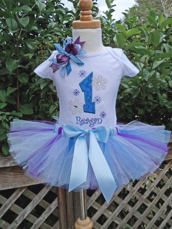 Frozen Birthday - Winter ONEdersland Birthday -  Snowflake outfit - Frozen Birthday - Tutu onesie, and hairbow PERSONALIZED