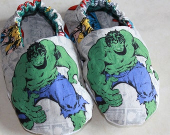 Hulk Slippers with Non-skid Sole made with Incredible Hulk Superhero Fabric