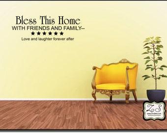 "Bless This Home 23""w x 8""h- Vinyl Wall Art- Vinyl Wall Decal- Wall Sticker- Vinyl Sticker- Vinyl Wall sticker EN001"