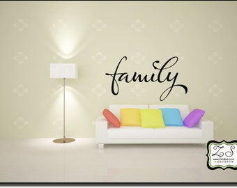"""Family 23""""w x 12.5""""h (FA013)- Vinyl Decal for walls, tiles, doors, windows, mirrors, crafts, and more"""
