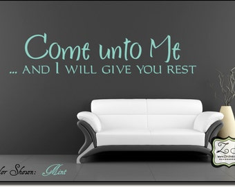 "Come unto Me 23""w x 5""h (C032)- Vinyl Decal for walls, tiles, doors, windows, mirrors, crafts, and more"